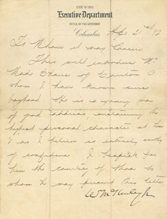 PRESIDENT WILLIAM McKINLEY - MANUSCRIPT LETTER SIGNED 04/21/1892