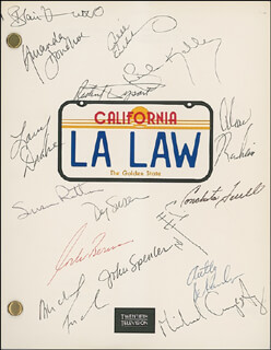 Autographs: L. A. LAW TV CAST - SCRIPT SIGNED CO-SIGNED BY: CORBIN BERNSEN, JILL EIKENBERRY, SUSAN DEY, ALAN RACHINS, BLAIR UNDERWOOD, RICHARD DYSART, JOHN SPENCER, MICHAEL TUCKER, AMANDA DONOHOE, SUSAN RATTAN, LARRY DRAKE, CECIL HOFFMANN, SHEILA KELLEY, CONCHATA FARRELL, MICHAEL CUMPSTY, ANTHONY DE SANDO
