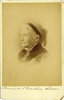 HARRIET BEECHER STOWE - PHOTOGRAPH MOUNT SIGNED