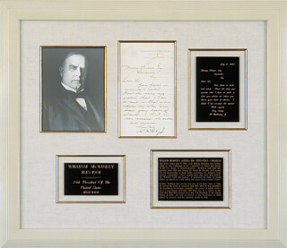 PRESIDENT WILLIAM McKINLEY - MANUSCRIPT LETTER SIGNED 07/17/1890