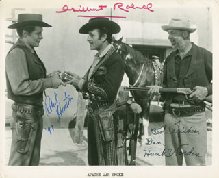 APACHE WAR SMOKE MOVIE CAST - INSCRIBED PRINTED PHOTOGRAPH SIGNED IN INK CO-SIGNED BY: HANK WORDEN, ROBERT HORTON, GILBERT ROLAND