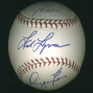FRED LYNN - AUTOGRAPHED SIGNED BASEBALL CO-SIGNED BY: DWIGHT DEWEY EVANS, JIM RICE