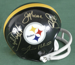 THE PITTSBURGH STEELERS - MINIATURE HELMET SIGNED CO-SIGNED BY: JOE MEAN JOE GREENE, L. C. GREENWOOD, ERNIE HOLMES, DWIGHT WHITE