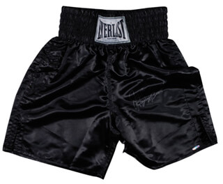 Autographs: JAKE THE RAGING BULL LA MOTTA - BOXING TRUNKS SIGNED