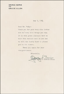 GEORGE BURNS - TYPED LETTER SIGNED 05/07/1954 CO-SIGNED BY: GRACIE ALLEN