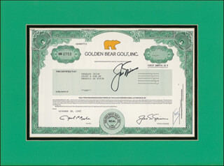 Autographs: JACK NICKLAUS - STOCK CERTIFICATE SIGNED 10/28/1997