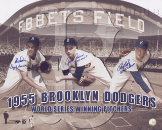 THE BROOKLYN DODGERS - AUTOGRAPHED SIGNED PHOTOGRAPH CO-SIGNED BY: JOHNNY PODRES, CLEM LABINE, ROGER CRAIG