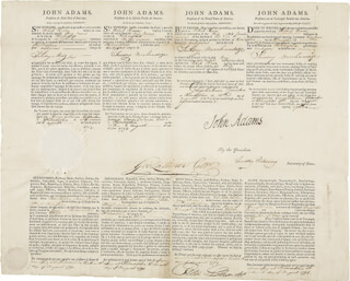 PRESIDENT JOHN ADAMS - FOUR LANGUAGE SHIPS PAPERS SIGNED 08/11/1798 CO-SIGNED BY: GENERAL TIMOTHY PICKERING