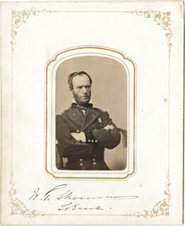 Autographs: GENERAL WILLIAM T. SHERMAN - PHOTOGRAPH MOUNT SIGNED CO-SIGNED BY: MAJOR GENERAL NATHANIEL P. BANKS