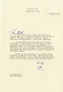 PRESIDENT RICHARD M. NIXON - TYPED LETTER SIGNED 08/26/1983