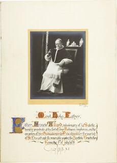 POPE PIUS XI - DOCUMENT SIGNED 07/08/1928  - HFSID 277541