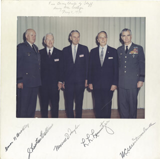 Autographs: GENERAL OMAR N. BRADLEY - PHOTOGRAPH MOUNT SIGNED 05/08/1970 CO-SIGNED BY: GENERAL MAXWELL D. TAYLOR, GENERAL LYMAN L. LEMNITZER, GENERAL J. LAWTON COLLINS, GENERAL WILLIAM C. WESTMORELAND