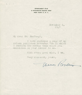 FIRST LADY ELEANOR ROOSEVELT - TYPED LETTER SIGNED 11/06/1947