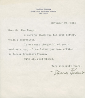FIRST LADY ELEANOR ROOSEVELT - TYPED LETTER SIGNED 11/23/1955