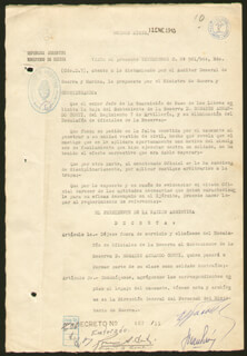 Autographs: PRESIDENT JUAN D. PERON (ARGENTINA) - DOCUMENT SIGNED 01/22/1945 CO-SIGNED BY: MAJOR GENERAL EDELMIRO JULIAN FARRELL, ROSARIO A DOMTI, GUILLERMO BEGHE