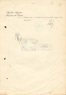 Autographs: PRESIDENT JUAN D. PERON (ARGENTINA) - DOCUMENT SIGNED 07/13/1944 CO-SIGNED BY: LT. COLONEL JOSE D. SARMIENTO, GUILLERMO BEGHE
