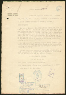 PRESIDENT JUAN D. PERON (ARGENTINA) - DOCUMENT SIGNED 02/15/1945