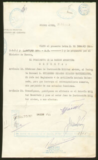 PRESIDENT JUAN D. PERON (ARGENTINA) - DOCUMENT SIGNED 07/21/1945 CO-SIGNED BY: MAJOR GENERAL EDELMIRO JULIAN FARRELL
