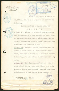 PRESIDENT JUAN D. PERON (ARGENTINA) - DOCUMENT SIGNED 10/15/1947