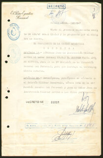 Autographs: PRESIDENT JUAN D. PERON (ARGENTINA) - DOCUMENT SIGNED 10/07/1947 CO-SIGNED BY: COLONEL JOSE ROBERTO SOSA MOLINA