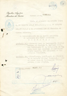 PRESIDENT JUAN D. PERON (ARGENTINA) - DOCUMENT SIGNED 08/11/1945