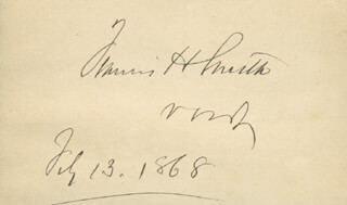 Autographs: GENERAL FRANCIS HENNEY SMITH - SIGNATURE(S) 02/13/1868