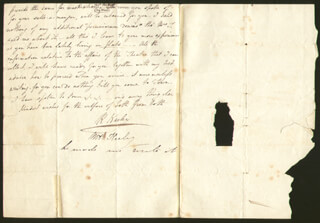 ROBERT KEELEY - AUTOGRAPH LETTER SIGNED 07/1829