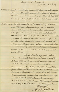 BRIGADIER GENERAL ALEXANDER R. LAWTON - MANUSCRIPT DOCUMENT SIGNED 03/16/1877