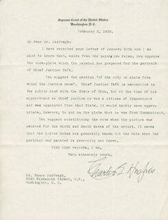 CHIEF JUSTICE CHARLES E HUGHES - TYPED LETTER SIGNED 02/02/1939