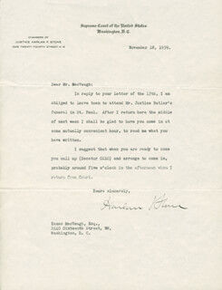 CHIEF JUSTICE HARLAN F. STONE - TYPED LETTER SIGNED 11/18/1939
