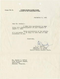 ADMIRAL CHESTER W. NIMITZ - TYPED LETTER SIGNED 09/06/1942