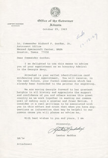 GOVERNOR LESTER G. MADDOX - TYPED LETTER SIGNED 10/29/1969