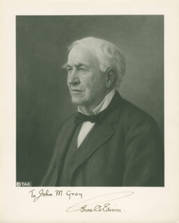 THOMAS A. EDISON - AUTOGRAPHED INSCRIBED PHOTOGRAPH
