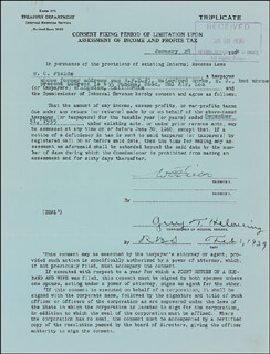 W. C. FIELDS - DOCUMENT SIGNED 01/28/1939