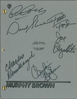 MURPHY BROWN TV CAST - SCRIPT SIGNED CO-SIGNED BY: PAT CORLEY, FAITH FORD, CHARLES KIMBROUGH, JOE REGALBUTO, GRANT SHAUD, CANDICE BERGEN