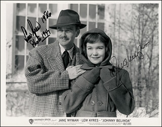 JOHNNY BELINDA MOVIE CAST - AUTOGRAPHED SIGNED PHOTOGRAPH 1986 CO-SIGNED BY: JANE WYMAN, LEW AYRES