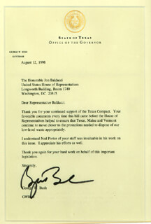PRESIDENT GEORGE W. BUSH - TYPED LETTER SIGNED 08/12/1998