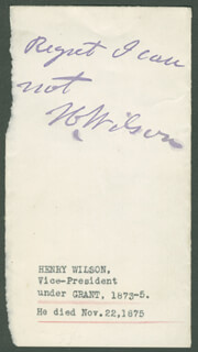 Autographs: VICE PRESIDENT HENRY WILSON - AUTOGRAPH NOTE SIGNED
