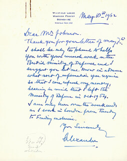 Autographs: FIELD MARSHAL HAROLD R.L. ALEXANDER - AUTOGRAPH LETTER SIGNED 05/10/1962