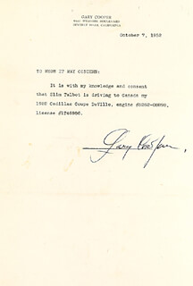 GARY COOPER - DOCUMENT SIGNED 10/07/1952
