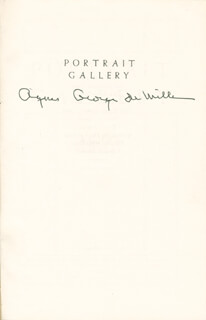 AGNES GEORGE DE MILLE - BOOK SIGNED