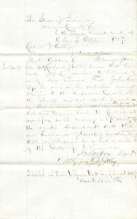 Autographs: RICHARD J. GATLING - DOCUMENT SIGNED 10/1857