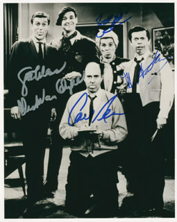 THE DICK VAN DYKE TV CAST - AUTOGRAPHED SIGNED PHOTOGRAPH CO-SIGNED BY: CARL REINER, DICK VAN DYKE, ROSE MARIE, MOREY AMSTERDAM - HFSID 277700