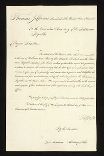 Autographs: PRESIDENT THOMAS JEFFERSON - DOCUMENT SIGNED 05/30/1801 CO-SIGNED BY: PRESIDENT JAMES MADISON