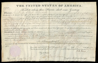 PRESIDENT JOHN QUINCY ADAMS - LAND GRANT SIGNED 04/02/1825 CO-SIGNED BY: GEORGE GRAHAM