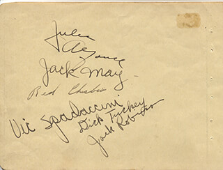 JACKIE ROBINSON - AUTOGRAPH CO-SIGNED BY: DICK TUCKEY, RED CHESBRO, JACK MAY, VIC SPADACCINI, JULIE ALFONSE
