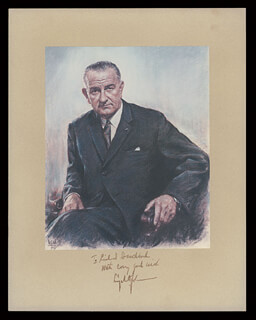 PRESIDENT LYNDON B. JOHNSON - INSCRIBED PHOTOGRAPH MOUNT SIGNED