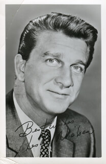 LESLIE NIELSEN - INSCRIBED PICTURE POSTCARD SIGNED