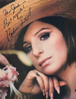 BARBRA STREISAND - INSCRIBED MAGAZINE PHOTO SIGNED