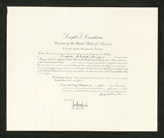 PRESIDENT DWIGHT D. EISENHOWER - CIVIL APPOINTMENT SIGNED 12/05/1957